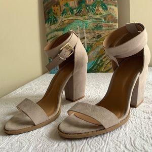 Grey suede block heels
